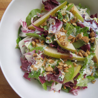 Crunchy Vegetable Salad with Pears and Creamy Cheddar Dressing