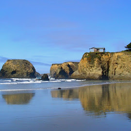House with a View by Darlene Dunnum - Buildings & Architecture Homes ( home, rock formations, california, pacific ocean, reflections, beach,  )