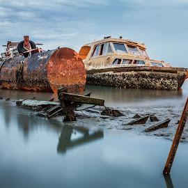 Gloomy Boat by YingTong Low - Transportation Boats ( penang, sea, long exposure, sunrise, morning, boat, gloomy,  )