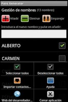 Screenshot of Generador de Parejas