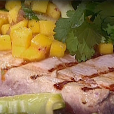 Grilled Tuna on Sugarcane Skewers with Cucumber Mango Relish