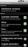 Screenshot of Call Time Control