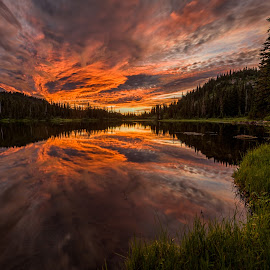 Sunrise at Reflection Lake by Kevin Brown - Landscapes Cloud Formations ( washington, national park, mount rainier, cloud, sunrise )