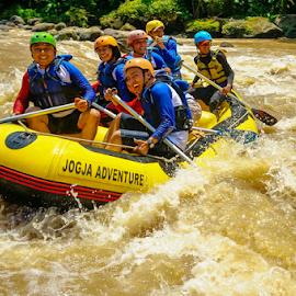 Rafting Group! by OC Andoko - People Group/Corporate ( adventure, waterrodeo, fun, rafting, river )