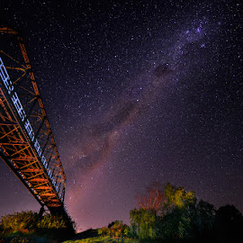 Luskintyre Milkyway by Jeff Aranas - Landscapes Starscapes ( jeff aranas, milkyway, light painting, bridge, nightscape )