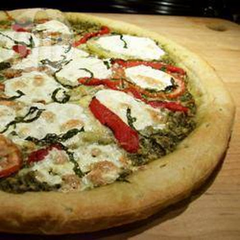 Roasted Tomato, Onion, And Basil Pesto Pizza With Vegan Parmesan ...
