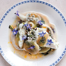 Gently Steamed Fish with Cucumber, Borage, and Tahini Sauce