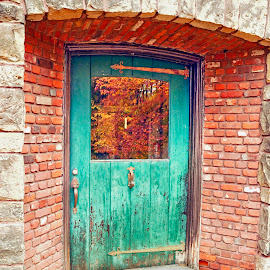 Red Brick with Teal Door by Reuss Griffiths - Buildings & Architecture Other Exteriors ( brick house, autumn leave, old door, door, teal )