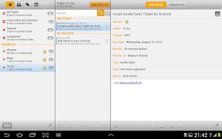 Screenshot of toodleTasks Tablet - Toodledo