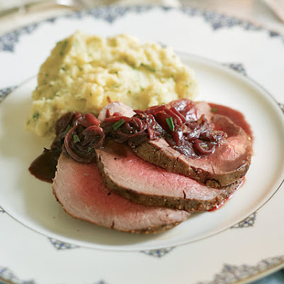 Roasted Beef Tenderloin with Caramelized Shallots & Red Wine