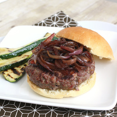 Bacon Burgers with Bacon Onion Balsamic Jam