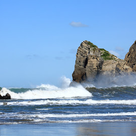 At the beach by Elayne Hand - Landscapes Waterscapes ( blue sky, nature, waves, castle point, ocean, landscape, new zealand,  )