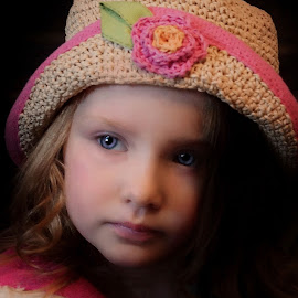 Nevaeh Straw Flower Hat by Cheryl Korotky - Babies & Children Child Portraits ( amazing faces, a heartbeat in time photography. straw hat )