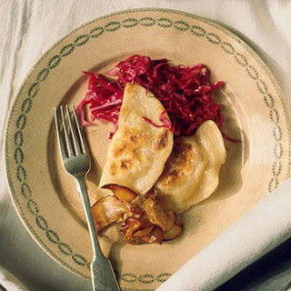 Parsnip Pierogi with Pickled Red Cabbage and Sauted Apples