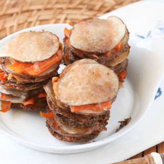Roasted Garlic Scalloped Potato and Carrot Stacks