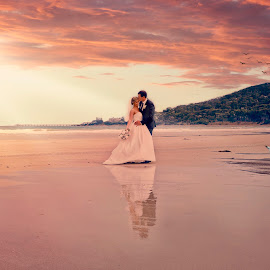 Great Ocean Road by Alan Evans - Wedding Bride & Groom ( wedding photography, great ocean road, waterscape, lorne, lorne wedding photographer, aj photography, great ocean road wedding photographer, wedding, wedding day, sunset, couple, bride and groom, couple in love,  )