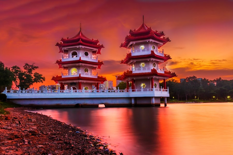 Twin Pagodas by Anurag Banerjee - Buildings & Architecture Public & Historical ( twin, pagodas, sunset, twilight, garden, chinese )