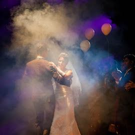 The First Dance... by Russell Dmello - Wedding Bride & Groom ( love, canon, lights, weddings, couple, india, dance, spotlight, smoke, Wedding, Weddings, Marriage )