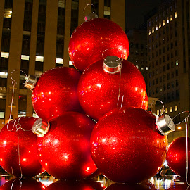 Red Christmas Balls by Nina VanDeleur - Buildings & Architecture Other Exteriors ( red christmas balls )