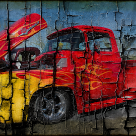 Shattered by Michael Moriarty - Digital Art Things ( flames, pick-up, shattered, truck, automobile, vehicle, transportation, red, digital art, auto, whip, ford, antique, classic )