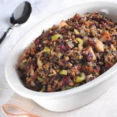 Wild Rice Stuffing with Apples, Currants and Bacon