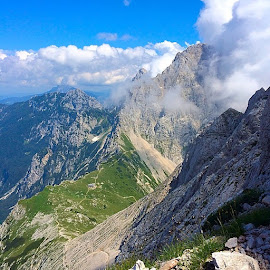 Kamnisko sedlo by T K - Instagram & Mobile iPhone ( mountains, slovenia, kamnisko sedlo, hribi, view, alps )