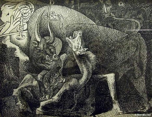 Picasso 1934 La femme à la bougie, combat entre le taureau et le cheval