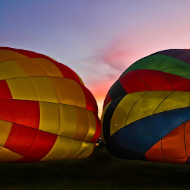 Colorful Sunset by Brenda Hooper - News & Events Entertainment ( park, colorful, sunset, hot ait balloons )