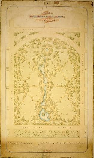 Fitzroy Gardens Plan by Edward La Trobe Bateman, 1857