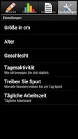 Screenshot of Gewichts Tagebuch