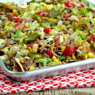 Lucky and Loaded Pulled Pork & Black-Eyed Pea Nachos