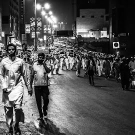 Crowd by Imed Kolli - People Street & Candids ( boulevard, mecca, ksa, prayer, black and white, street, nikon, crowd, people, photography, saudi arabia, humanity, society )