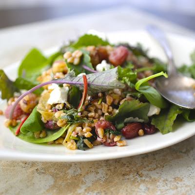 Farro Salad with Roasted Grapes and Baby Kale