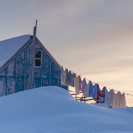 House in Tiniteqilaaq  by Jon G Magnusson - Buildings & Architecture Homes ( winter, snow, greenland, house, laundry,  )