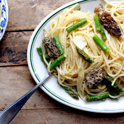 Morel and Asparagus Spaghetti
