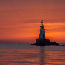 lighthouse on fire by Yordan Mihov - Landscapes Sunsets & Sunrises ( blacksea, lighthouse, summer, sea, sunrise, fire )