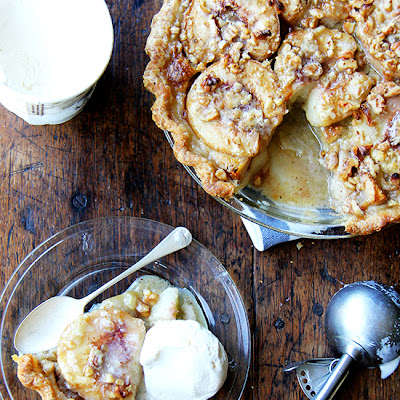 German Peach Pie with Brown Butter & Walnuts