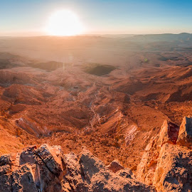Sunrise in the canyon by Tzvika Stein - Landscapes Deserts