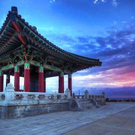 Korean Bell of Friendship by Raghu Bhimanadi - Buildings & Architecture Statues & Monuments ( history, #korean bell of friendship, sunset, #san pedro, korean bell, los angeles, #los angeles, #republic of korea, #bronze bell )