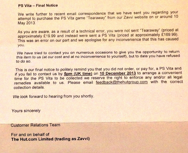 Zavvi threatening legal action on customers sent PS Vitas by mistake
