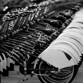 Spanish Boris bikes by Anthony Hedger - Transportation Bicycles ( cycles, b&w, pattern, black and white, bikes, spanish shots,  )