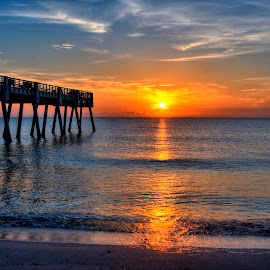 Sunrise at Seaquay Pier in HDR by Jim Wilson - Landscapes Sunsets & Sunrises ( seaquay, hdr, florida, vero beach, pier, sunrise )