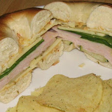 Turkey Hummus Sandwiches on Bagels