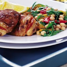 BBQ chorizo chicken with chickpea salad