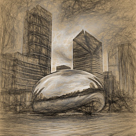 Looks Like a Bean by Dennis Granzow - Digital Art Places ( illinois, millennium park, the bean, chicago, drawing, michigan ave )