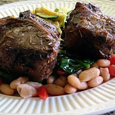 Broiled Lamb Chops w/ White Beans & Spinach