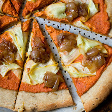 Romesco Pizza With Caramelized Onions & Squash