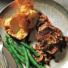 Beef Filets with Mushroom Sauce and Parmesan Popovers