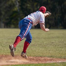 Flying Start by Jim Merchant - Sports & Fitness Baseball ( 1st base, baseman, catch, fly ball )