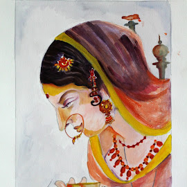 Indian Lady  by Krishna Sharma - Painting All Painting ( #painting #artforsale #watercolors #indian #mywork )